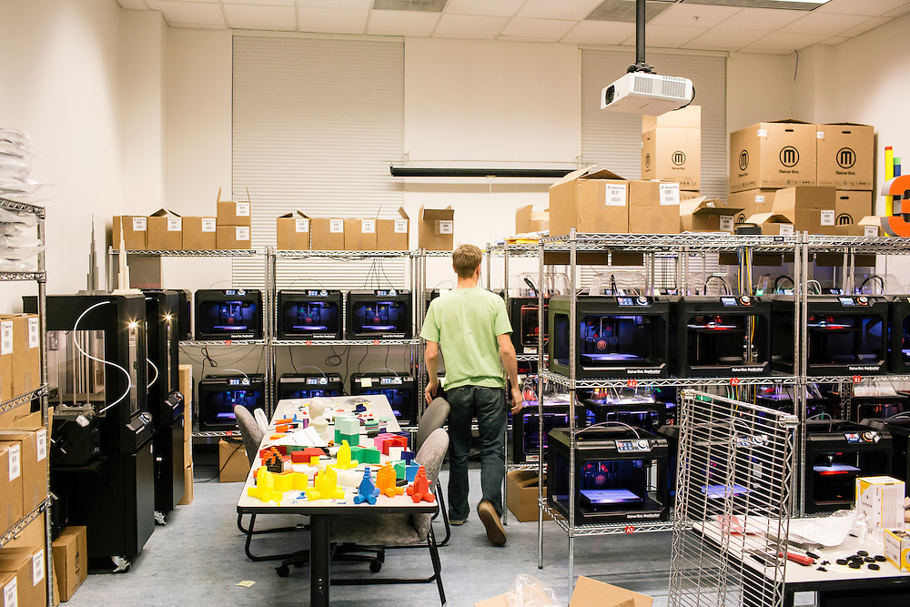 3D printers make trophies for the upcoming hackathon, bitcamp, at Startup Shell headquarters on the University of Maryland campus on April 1, 2015. Startup Shell is a not for profit company run entirely by and for students at UMD. Entrepreneurial students from all different disciplines apply to join and if accepted, can work on their innovative project with others collaborating and teaching one another.