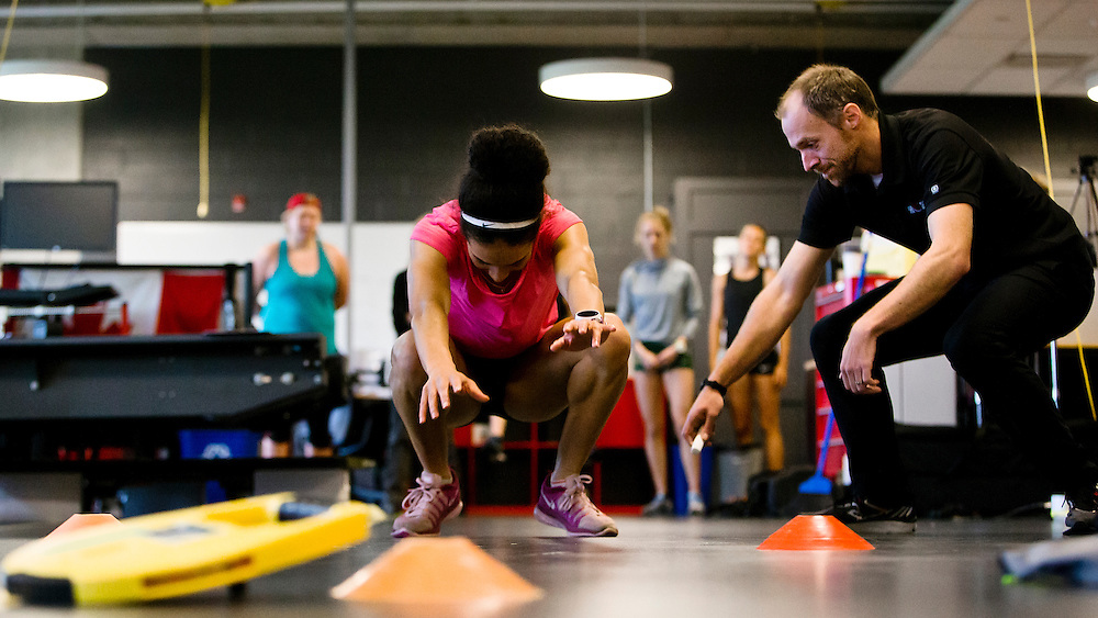 Rachel Francois does a two legged triple broad jump for distance which highly correlates to sprint speed at the Pacific Institute for Sport Excellence on December 3rd, 2015 in Victoria, British Columbia Canada.