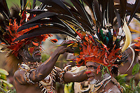 Man from Chimbu Province with Stephanie's Astrapia Bird of Paradise plumes and other feathers in his headdress..