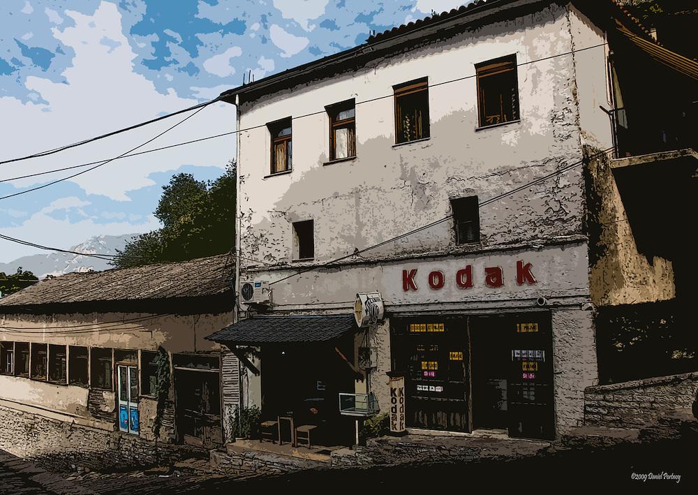 Old building with Kodak shop in Gjirokastra Albania
