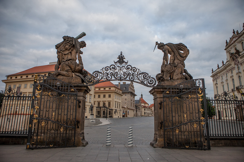 View to Hradcanske Namesti (Prague Castle Square) an the main entrance to the castle.