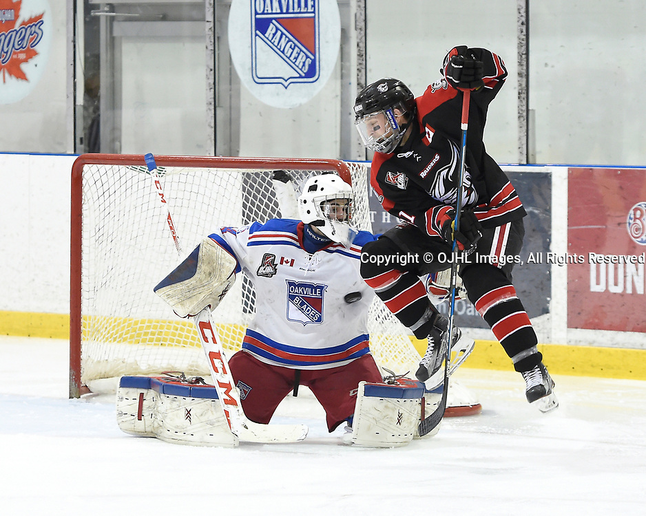 OAKVILLE, ON - APR 8,  2017: Ontario Junior Hockey League, South West Conference Championship game between Oakville Blades and the Georgetown Raiders, Louis Kereakou #81 of the Georgetown Raiders screens Brendan McGlynn #34 of the Oakville Blades during the second period.<br /> (Photo by Andy Corneau / OJHL Images)