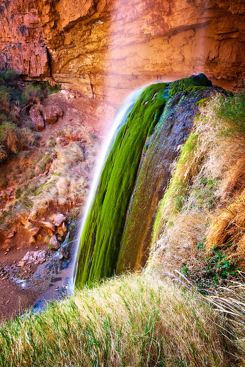 Beautiful Ribbon Falls on the North Rim of Grand Canyon National Park.
