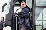 Forest Green Rovers manager, Mark Cooper steps off the team coach during the EFL Sky Bet League 2 match between Barnet and Forest Green Rovers at The Hive Stadium, London, England on 7 April 2018. Picture by Shane Healey.