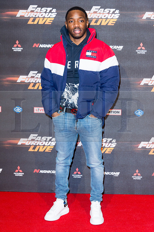 © Licensed to London News Pictures. 19/01/2018. London, UK. KARL 'KONAN' WILSON attends the world premiere of Fast & Furious live show at the O2.  Cars will perform stunts and scenes capturing the spirit of the film series. Photo credit: Ray Tang/LNP