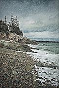 Coastal rain storm, Maine, USA