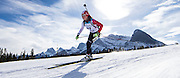 Leilani Tam Von Burg skis in IBU Cup #7 biathlon sprint at the Canmore Nordic Centre in Canmore, Alberta on March 1, 2015