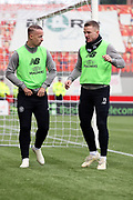 Glasgow Celtic forward Leigh Griffiths (9) and Glasgow Celtic midfielder Jonathan Hayes (15) warm up together during the Ladbrokes Scottish Premiership match between Hamilton Academical FC and Celtic at New Douglas Park, Hamilton, Scotland on 24 November 2018. Pic Mick Atkins