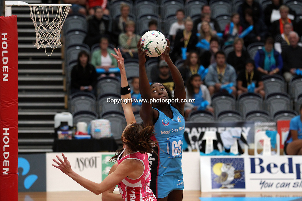 Jhaniele Fowler of the Steel controls the ball.<br /> ANZ Championship Netball - Southern Steel v Adelaide Thunderbirds, 6 April 2013, Lion Foundation Arena - Edgar Centre, Dunedin, New Zealand.<br /> Photo: Rob Jefferies / photosport.co.nz