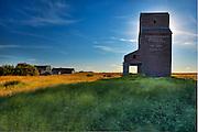 Grain elevator in ghost town<br /> Bents<br /> Saskatchewan<br /> Canada