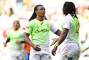 LONDON, ENGLAND - Saturday 10 May 2014, Branco du Preez of South Africa\ congratulates Seabelo Senatla during the match between South Africa and Scotland at the Marriott London Sevens rugby tournament being held at Twickenham Rugby Stadium in London as part of the HSBC Sevens World Series.<br /> Photo by Roger Sedres/ImageSA