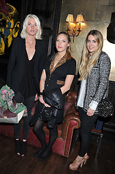 Left to right, GEORGIANA HUDDART, ELIZA WINWOOD and ANGELICA HERMON at the launch of the Johnnie Walker Blue Label Club held at The Scotch, Mason's Yard, London on 1st May 2012.