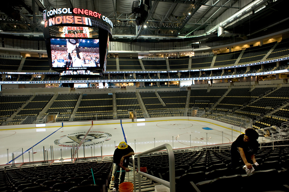 Seats are cleaned at Consol Energy Center in preparation for the August 18, 2010 opening. The arena will be the new home for the Pittsburgh Penguins and can seat over 18,000.