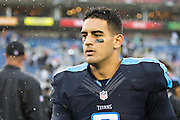 NASHVILLE, TN - NOVEMBER 29:  Marcus Mariota #8 of the Tennessee Titans walks off the field after a game against the Oakland Raiders at Nissan Stadium on November 29, 2015 in Nashville, Tennessee.  The Raiders defeated the Titans 24-21.  (Photo by Wesley Hitt/Getty Images) *** Local Caption *** Marcus Mariota