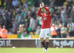 Wayne Rooney of Manchester United applauds the fans at the final whistle - Mandatory by-line: Jack Phillips/JMP - 07/05/2016 - FOOTBALL - Carrow Road - Norwich, England - Norwich City v Manchester United - Barclays Premier League