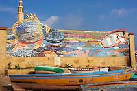 Egypte, Basse Egypte, la côte méditerranéenne, Alexandrie, front de mer et port de peche. // Egypt, Alexandria, fishing harbour.