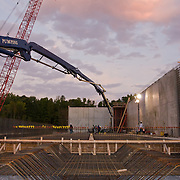 Early morning concrete pour at Kent Narrows Treatment Plant. Maryland.