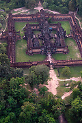 Aerial view of Bantay Samre, east of Angkor Wat, Siem Reap, Cambodia.