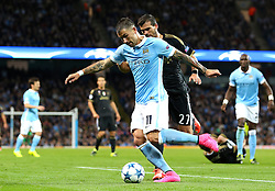 Aleksandar Kolarov of Manchester City closed down by Stefano Sturaro of Juventus during the UEFA Champions League group stage match between Manchester City and Juventus at the Etihad Stadium - Mandatory byline: Matt McNulty/JMP - 07966386802 - 15/09/2015 - FOOTBALL - Etihad Stadium -Manchester,England - Manchester City v Juventus - UEFA Champions League - Group D