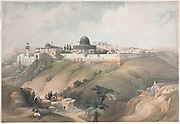 Jerusalem, Mosque of Omar on the ancient site of the Temple 1839 Color lithograph by David Roberts (1796-1864). An engraving reprint by Louis Haghe was published in a the book 'The Holy Land, Syria, Idumea, Arabia, Egypt and Nubia. in 1855 by D. Appleton & Co., 346 & 348 Broadway in New York.