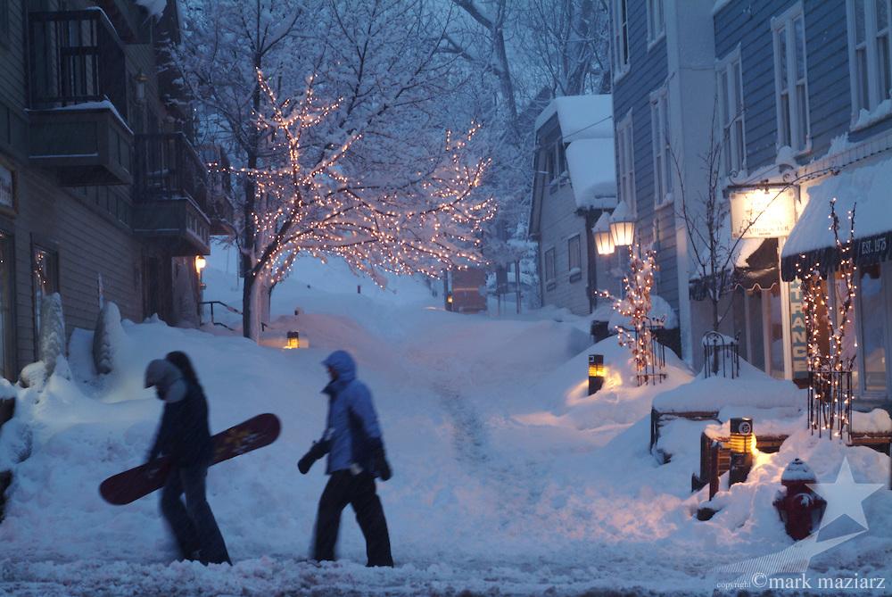 snowy evening on Main Street, Park City, Utah