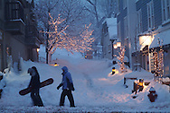 snowy evening on Main Street, Park City, Utah