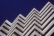 Greenspoint office building shot for Friendswood Development. Image of pattern formed by architectural design in Houston, Texas. Modernistic, symetrical, repetitive, zigzag patterned architecture.