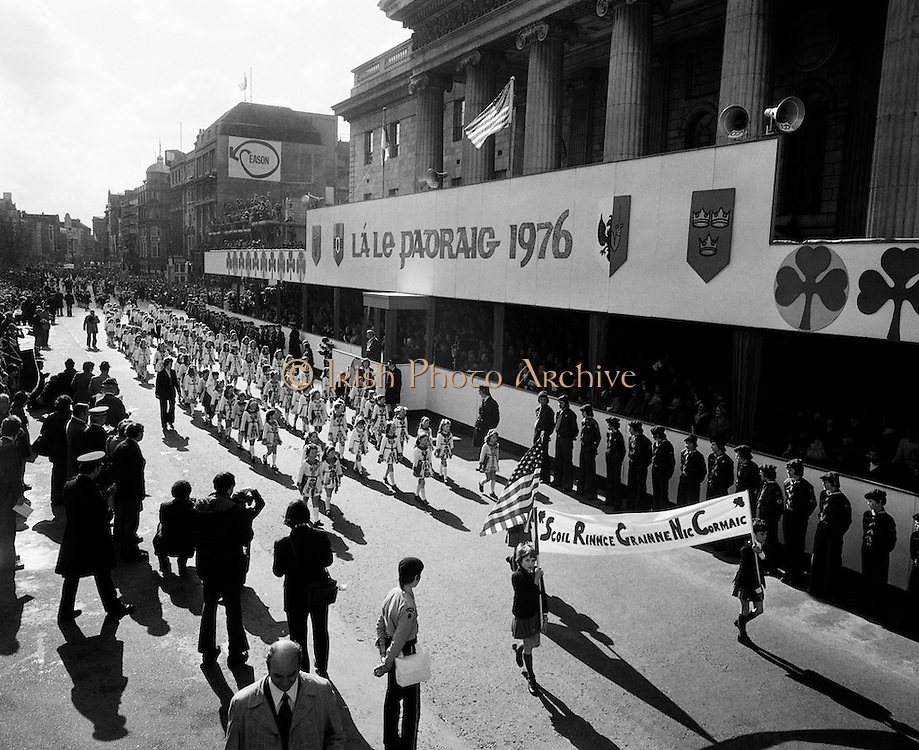 Pupils of Scoil Rince Nic Cormaic pass the reviewing stand at the St Patrick's Day Parade, Dublin.<br />