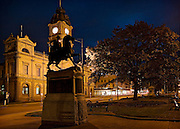 Ballarat central with Town Hall in foreground Sturt St scene at night from intersection with Lydiard St