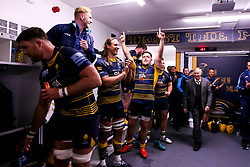 Nick Schonert of Worcester Warriors celebrates beating Gloucester Rugby and securing Premiership Rugby status - Mandatory by-line: Robbie Stephenson/JMP - 28/04/2019 - RUGBY - Sixways Stadium - Worcester, England - Worcester Warriors v Gloucester Rugby - Gallagher Premiership Rugby