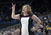 UCLA Bruins head coach Cori Close reacts during an NCAA women's basketball game against the Connecticut Huskies in Los Angeles on Tuesday, Nov. 21, 2017. UConn defeated UCLA 78-60.