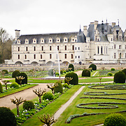 The ornate gardens of the Chateau de Chenonceau