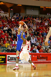 "06 January 2007: Cole Holmstrom shoots over Ketih ""Boo"" Richardson. The Sycamores of Indiana State University topped the Redbirds home 54 - 50 inside Redbird Arena in Normal Illinois on the campus of Illinois State University.<br />"