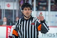 REGINA, SK - MAY 20: Referee Jeff Ingram at the Brandt Centre on May 20, 2018 in Regina, Canada. (Photo by Marissa Baecker/CHL Images)