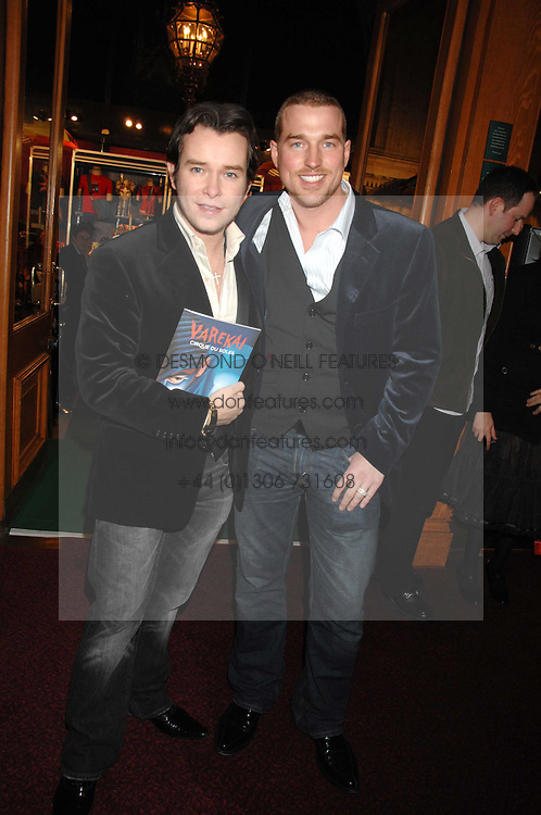 Left to right, singer STEPHEN GATELY and ANDREW COWLES at the gala night of Varekai by Cirque du Soleil at The Royal Albert Hall, London on 8th January 2008.<br /><br />NON EXCLUSIVE - WORLD RIGHTS