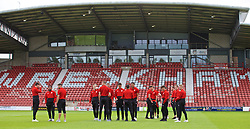 WREXHAM, WALES - Friday, September 6, 2019: Wales players on the pitch before of the UEFA Under-21 Championship Italy 2019 Qualifying Group 9 match between Wales and Belgium at the Racecourse Ground. (Pic by Laura Malkin/Propaganda)