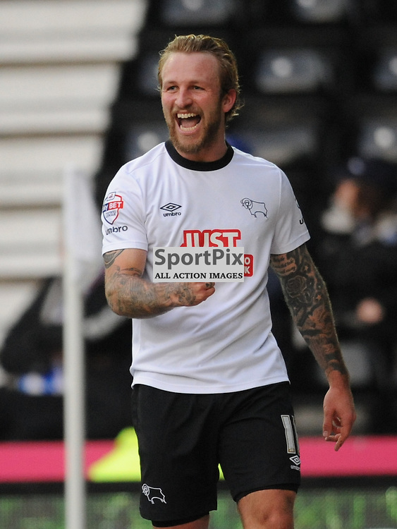 Derby Johnny Russell celebrates his goal Derbys second. Derby v Brighton Hove Albion, Championship. Saturday 6th December 2014