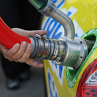 The gas port on a Sprint Cup Car where Sunoco ethanol gets put in at Daytona International Speedway on February 18, 2011 in Daytona Beach, Florida. (AP Photo/Alex Menendez)