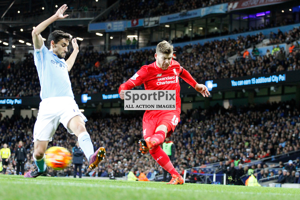 Alberto Moreno goes on the attack during Manchester City vs Liverpool, Barclays Premier League, Saturday 21st November 2015, Etihad Stadium, Manchester