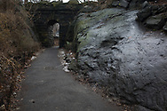 Large rock formation in the Ramble of Central Park, New York City.