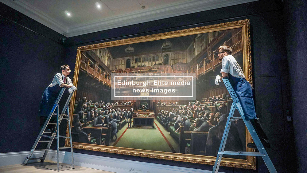 Pictured:   Banksy's Devolved Parliament painting ahead of<br />