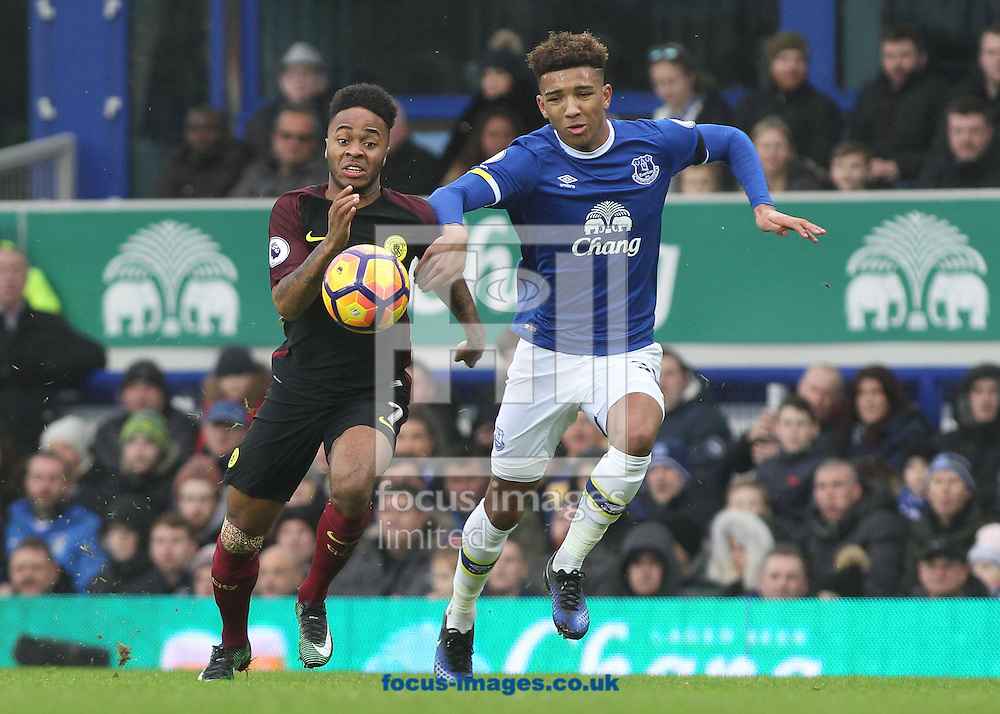 Mason Holgate of Everton and Raheem Sterling of Manchester City in action during the Premier League match at Goodison Park, Liverpool.<br /> Picture by Michael Sedgwick/Focus Images Ltd +44 7900 363072<br /> 15/01/2017