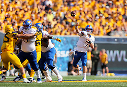 Oct 6, 2018; Morgantown, WV, USA; Kansas Jayhawks quarterback Peyton Bender (7) passes the ball during the third quarter against the West Virginia Mountaineers at Mountaineer Field at Milan Puskar Stadium. Mandatory Credit: Ben Queen-USA TODAY Sports