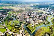 Nederland, Zeeland, Zeeuws-Vlaanderen, 01-04-2016; <br /> Hulst, vestingstad met stadswallen en bolwerken, stammend uit de Tachtigjarige Oorlog. Beschermd stadsgezicht, Sint-Willibrordusbasiliek.<br /> Hulst, on the border with Belgium. Fortified town, with ramparts and bastions.<br /> <br /> luchtfoto (toeslag op standard tarieven);<br /> aerial photo (additional fee required);<br /> copyright foto/photo Siebe Swart