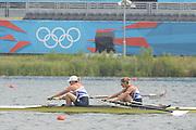 Eton Dorney, Windsor, Great Britain,..2012 London Olympic Regatta, Dorney Lake. Eton Rowing Centre, Berkshire[ Rowing]...Description;  GBR `W2- . [Spare Pair sweep]  12:11:55   Friday  27/07/2012..[Mandatory Credit: Peter Spurrier/Intersport Images].