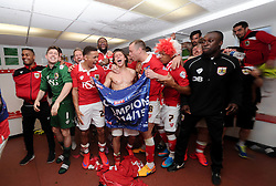 Bristol City celebrate being crowned champions of League One int the changing room  - Photo mandatory by-line: Joe Meredith/JMP - Mobile: 07966 386802 - 18/04/2015 - SPORT - Football - Bristol - Ashton Gate - Bristol City v Coventry City - Sky Bet League One