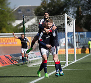 Dundee&rsquo;s Kevin Holt and Faissal El Bakhtaoui congratulate Marcus Haber on his winning goal - Kilmarnock v Dundee in the Ladbrokes Scottish Premiership at Rugby Park, Kilmarnock, Photo: David Young<br /> <br />  - &copy; David Young - www.davidyoungphoto.co.uk - email: davidyoungphoto@gmail.com