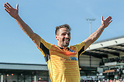 Filipe Morais (Bolton Wanderers) celebrates in front of the fans as Gary Madine (Bolton Wanderers) scores Bolton Wanderers' second goal to make it 2-0 and seal the win for the visitors during the EFL Sky Bet League 1 match between Port Vale and Bolton Wanderers at Vale Park, Burslem, England on 22 April 2017. Photo by Mark P Doherty.