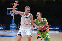 Rolands Freimanis of Latvia vs Klemen Prepelic of Sloveniaduring basketball match between Latvia and Slovenia at Day 8 in Round of 16 of FIBA Europe Eurobasket 2015, on September 12, 2015, in LOSC Lile stadium, Croatia. Photo by Marko Metlas / MN PRESS PHOTO / SPORTIDA