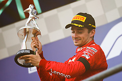 SPA-FRANCORCHAMPS, Sept. 2, 2019  Charles Leclerc of Ferrari poses during the awarding ceremony after the Formula 1 Belgian Grand Prix at Spa-Francorchamps Circuit, Belgium, Sept. 1, 2019. (Credit Image: © Zheng Huansong/Xinhua via ZUMA Wire)